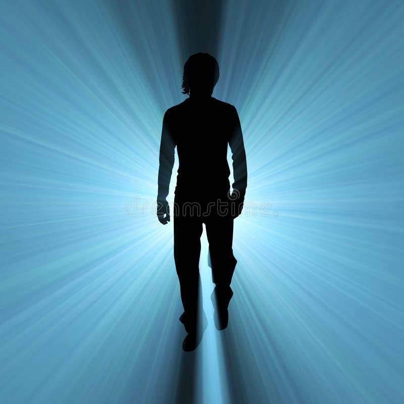 Épanouissement de lumière d'ombre de marche d'homme illustration libre de droits