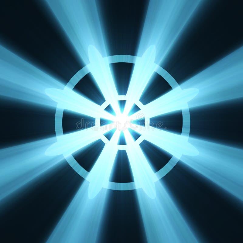 Épanouissement de lumière de signe de roue de bouddhisme illustration libre de droits