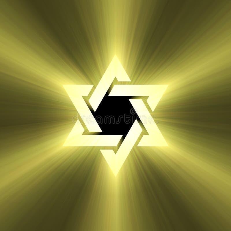 Épanouissement de lumière du soleil d'étoile de David illustration de vecteur