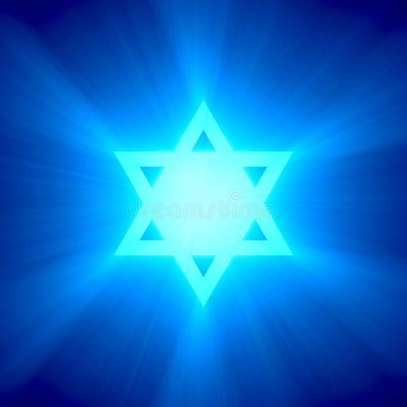 Épanouissement léger bleu d'étoile de David illustration de vecteur