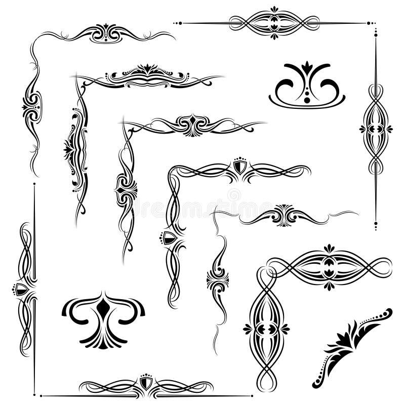 Épanouissez-vous les éléments décoratifs, frontières d'ornement d'isolement sur le blanc illustration stock