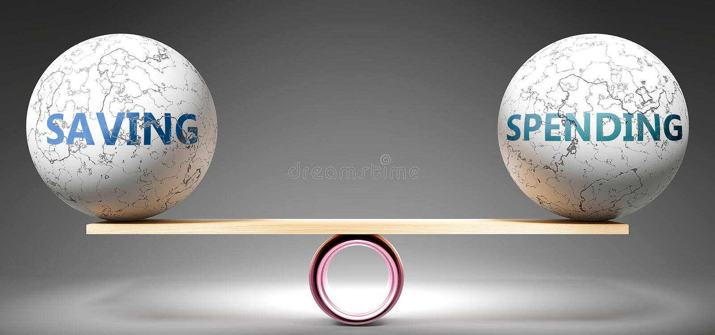 Épargner et dépenser en équilibre - représenté sous forme de boules équilibrées à l'échelle symbolisant l'harmonie et l'équité en illustration stock