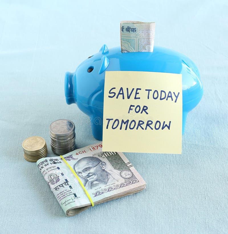Épargnez l'argent aujourd'hui pour le concept de demain photographie stock