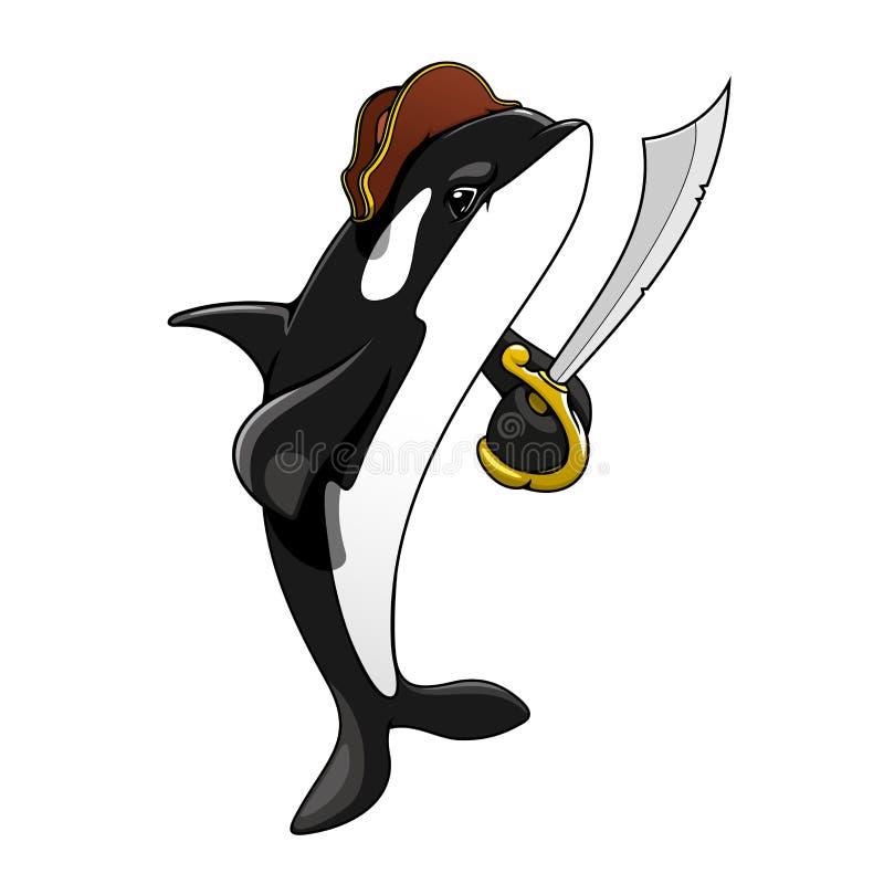 Épaulard de pirate de bande dessinée avec l'épée illustration libre de droits