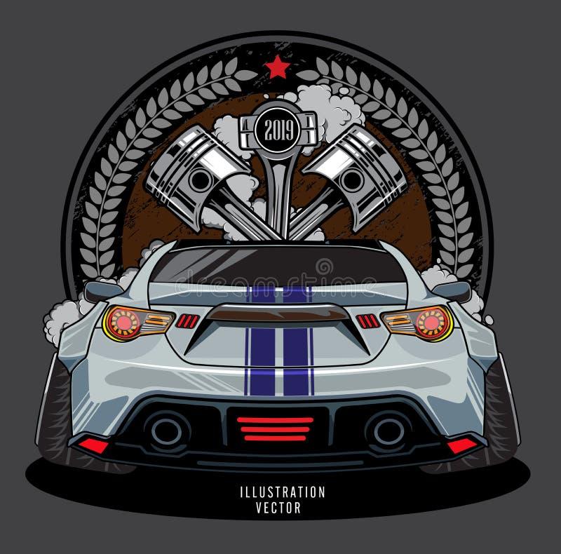 Épaule de moteur, piston de voiture, calibre graphique d'illustration de conception de logo de voiture de course illustration de vecteur