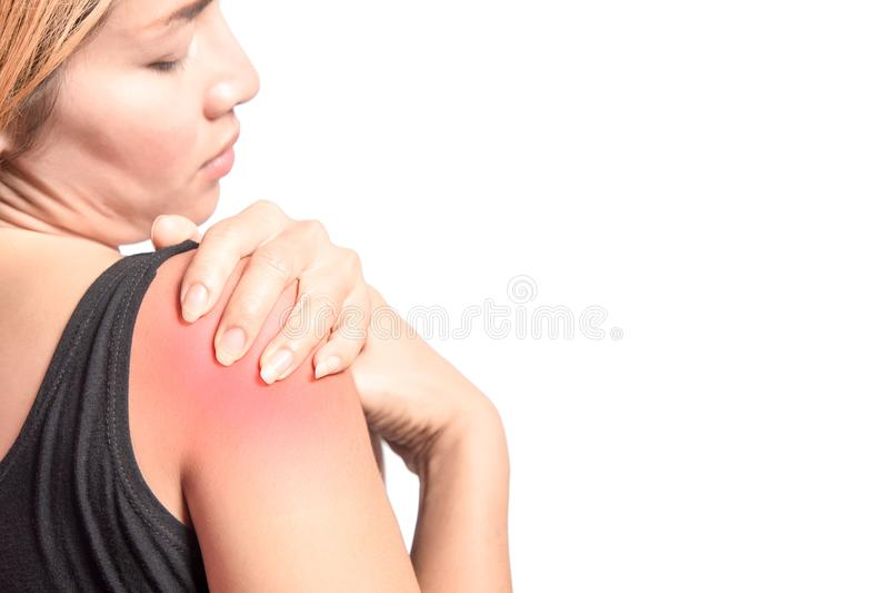 Épaule droite de douleur de femme avec l'inflammation photos stock