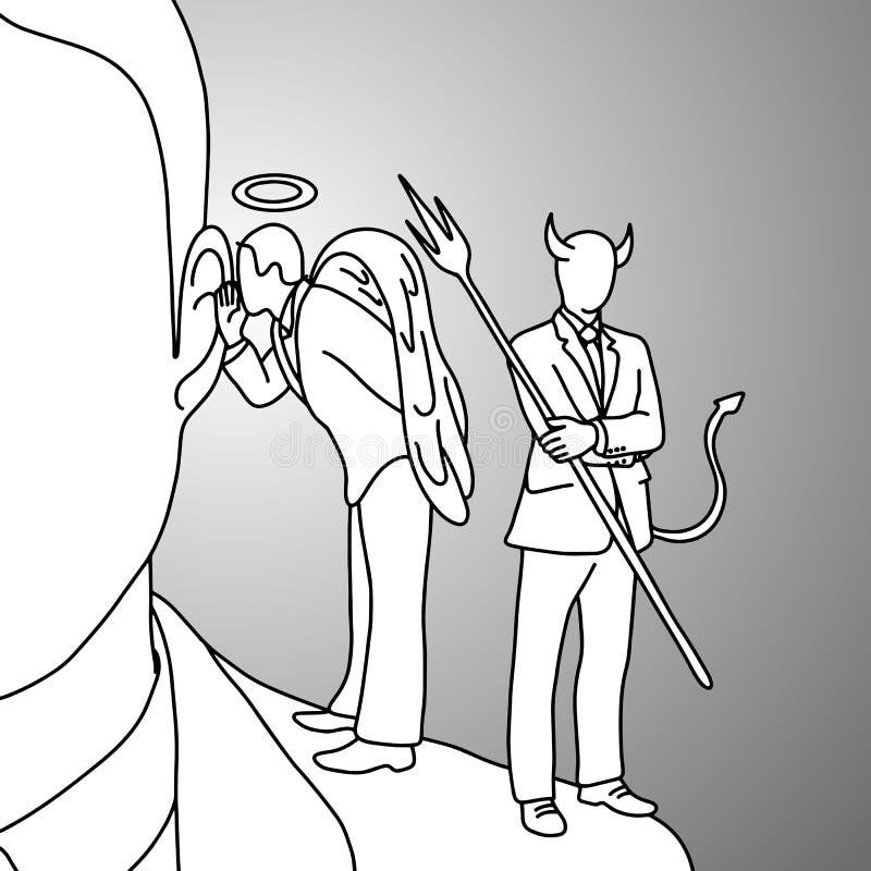 Épaulez le diable et la main de croquis de griffonnage d'illustration de vecteur d'ange illustration stock