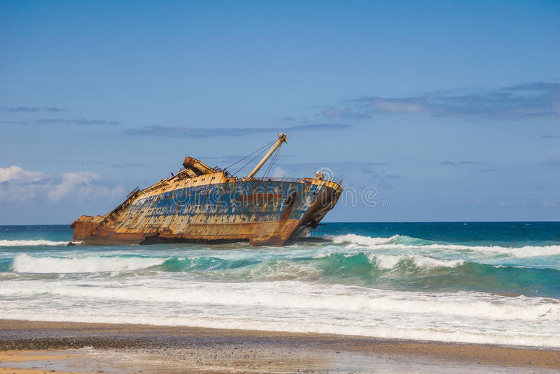 Épave d'étoile américaine Fuerteventura de bateau de fomer photos stock