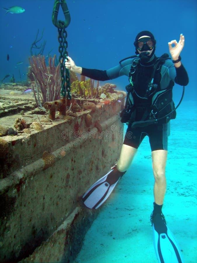 épave de plongeur images stock