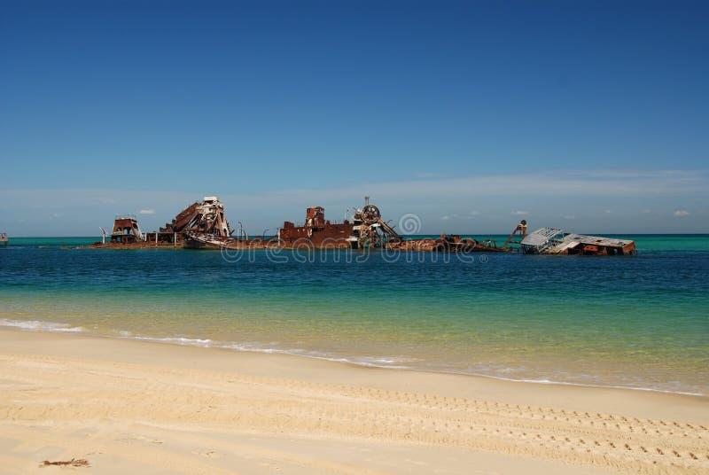Épaves de Tangalooma sur l'île de Moreton image libre de droits