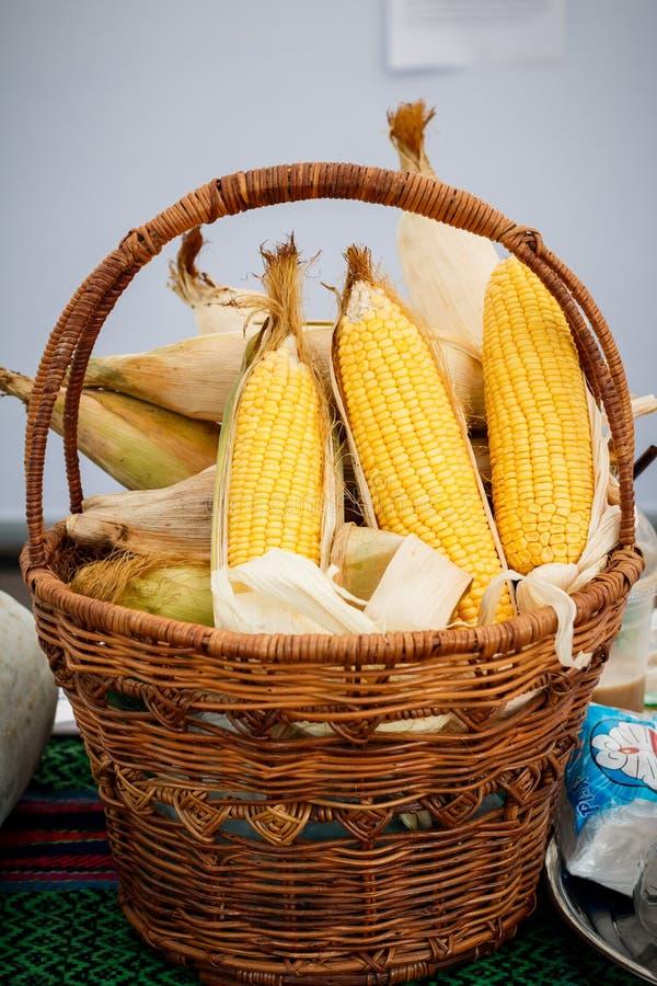 Épi de blé, noyaux jaunes de indication, photo de maïs dans un panier en osier photographie stock libre de droits