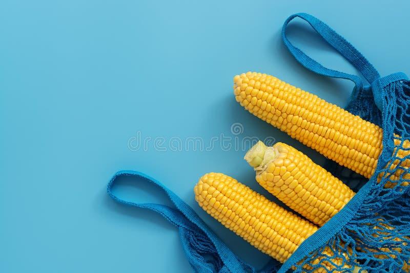 Épi de maïs cru frais dans un sac de maille de coton sur un fond bleu Configuration plate, vue sup?rieure, l'espace de copie image libre de droits
