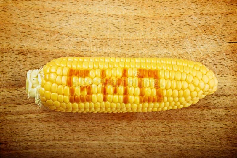 Épi de maïs de maïs de GMO sur le fond en bois photographie stock
