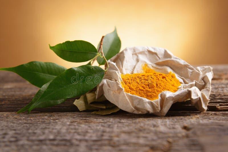 Épice de powwder de safran des indes photos libres de droits