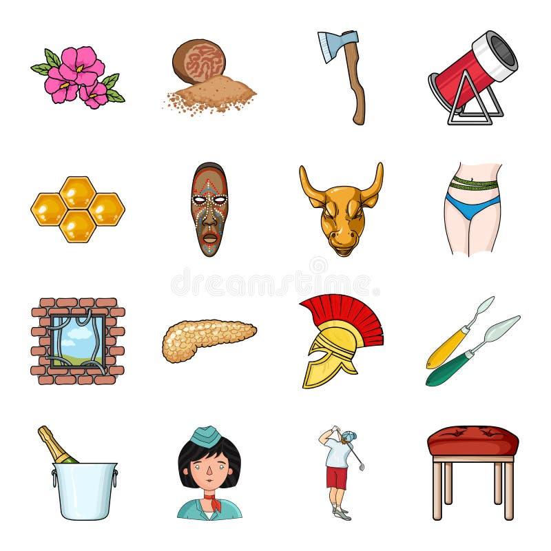 Épice, travail du bois, rucher et toute autre icône de Web dans le style de bande dessinée Art, restaurant, icônes de meubles dan illustration stock