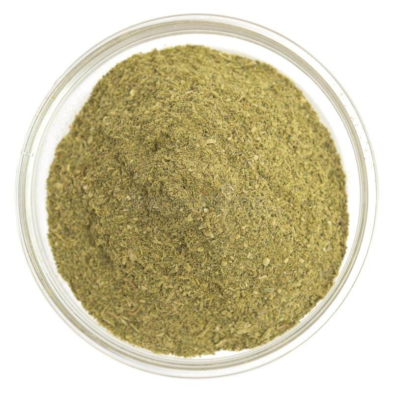 Épice verte dans une cuvette en verre photos stock