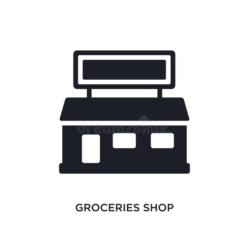 épicerie icône d'isolement illustration simple d'élément des icônes finales de concept de glyphicons épicerie logo editable illustration libre de droits