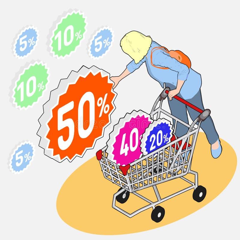 Épicerie isométrique - vente - femme rassemblant les remises W illustration stock