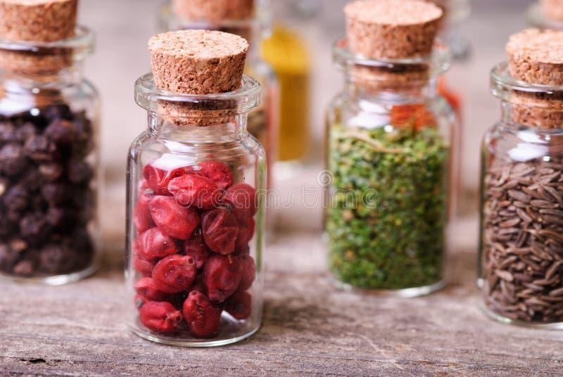 Épices dans des bouteilles photos libres de droits