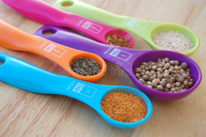 Épices dans des doseurs colorés image stock