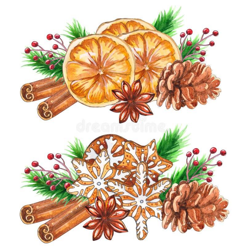 Épices de Noël d'aquarelle d'isolement sur le fond blanc illustration libre de droits