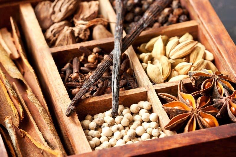 Épices de variété dans la boîte en bois images libres de droits