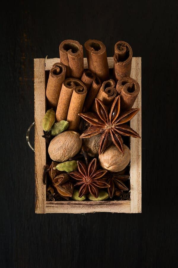 Épices diverses dans une boîte en bois : la cannelle, noix de muscade, cardamome, clous de girofle, anis se tient le premier rôle photographie stock libre de droits