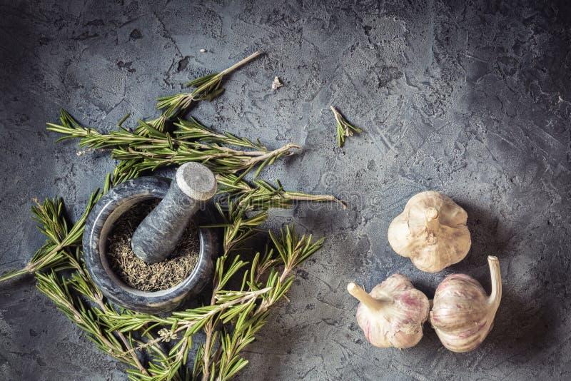 Épices fraîches de romarin et d'ail de groupe de branche image libre de droits