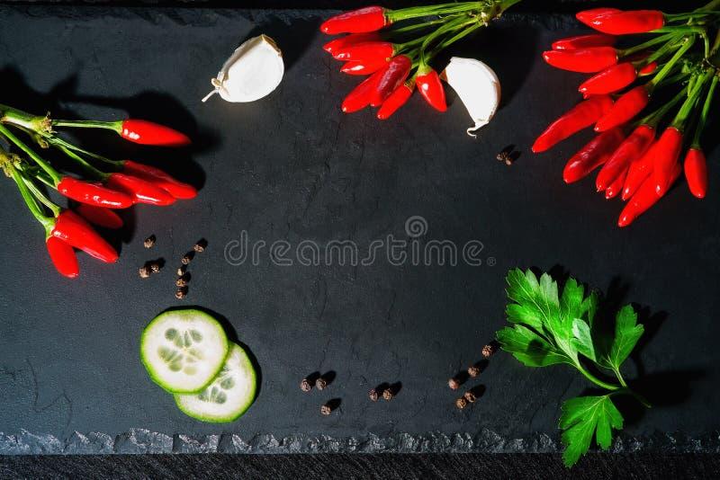 Épices, poivre de piment, tranches de concombre et ail images stock