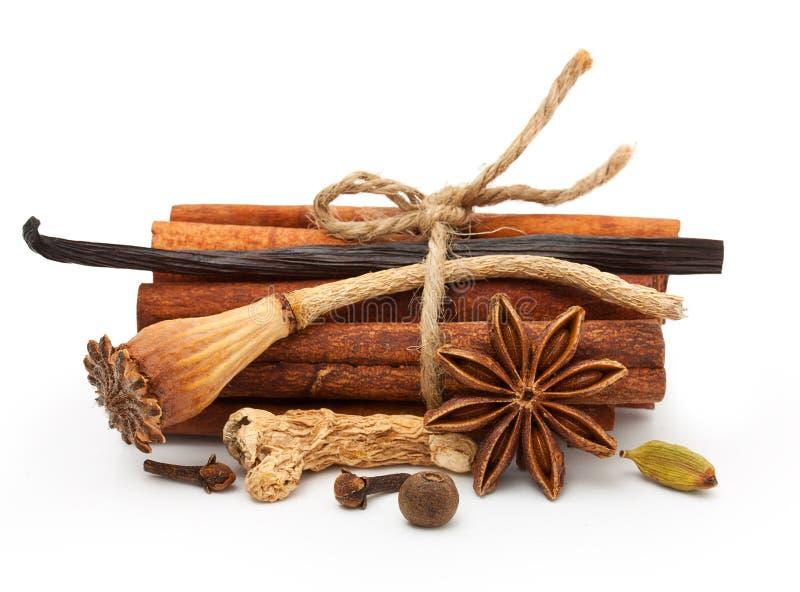 Épices : vanille, anis d'étoile, bâtons de cannelle image libre de droits