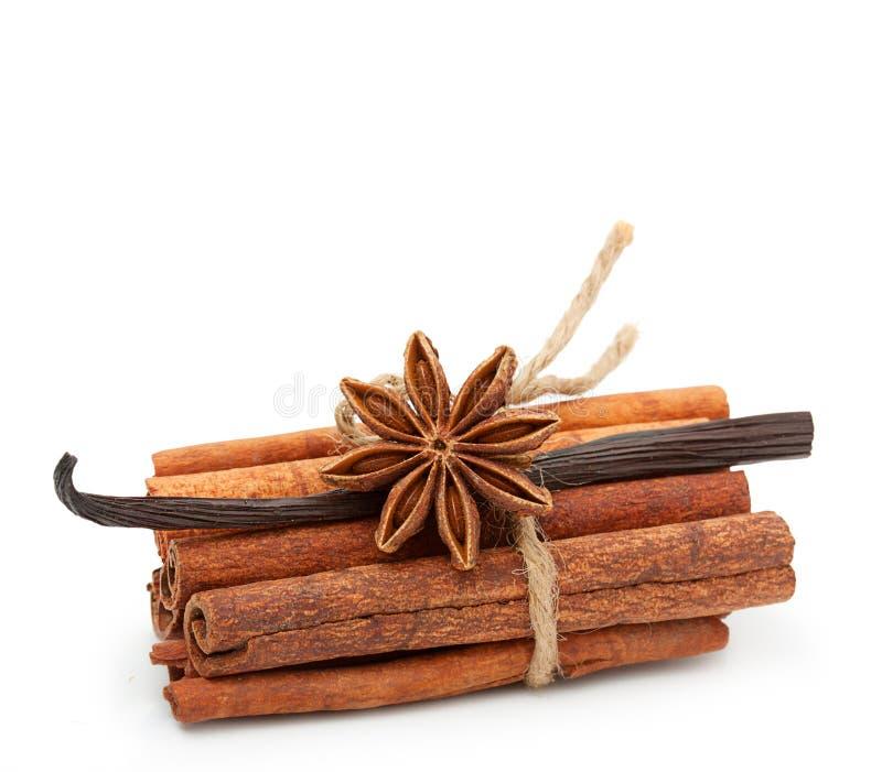 Épices : vanille, anis d'étoile, bâtons de cannelle images stock