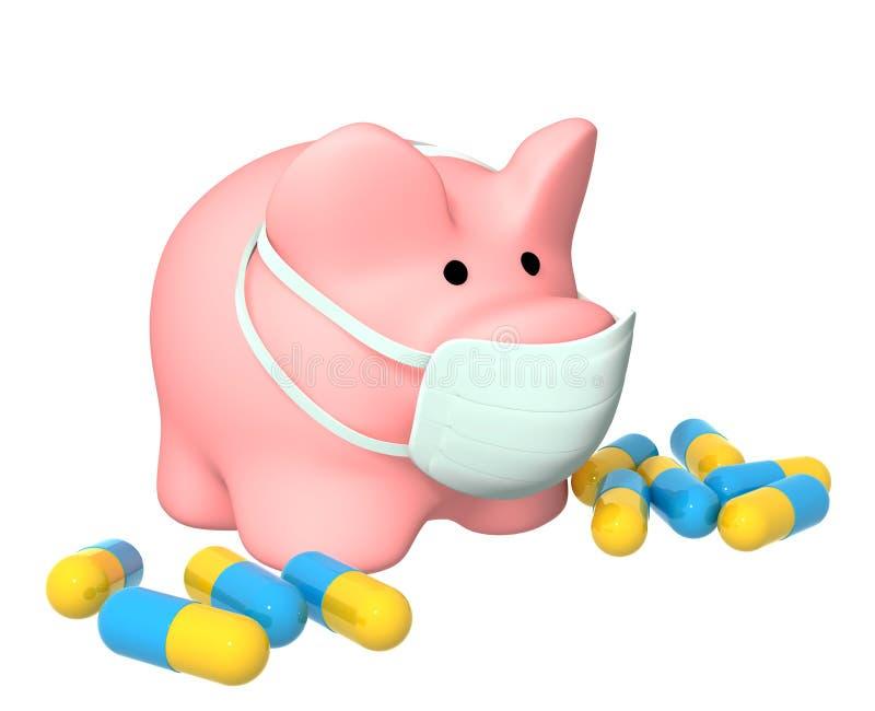 Épidémie d'une grippe de porcs illustration de vecteur