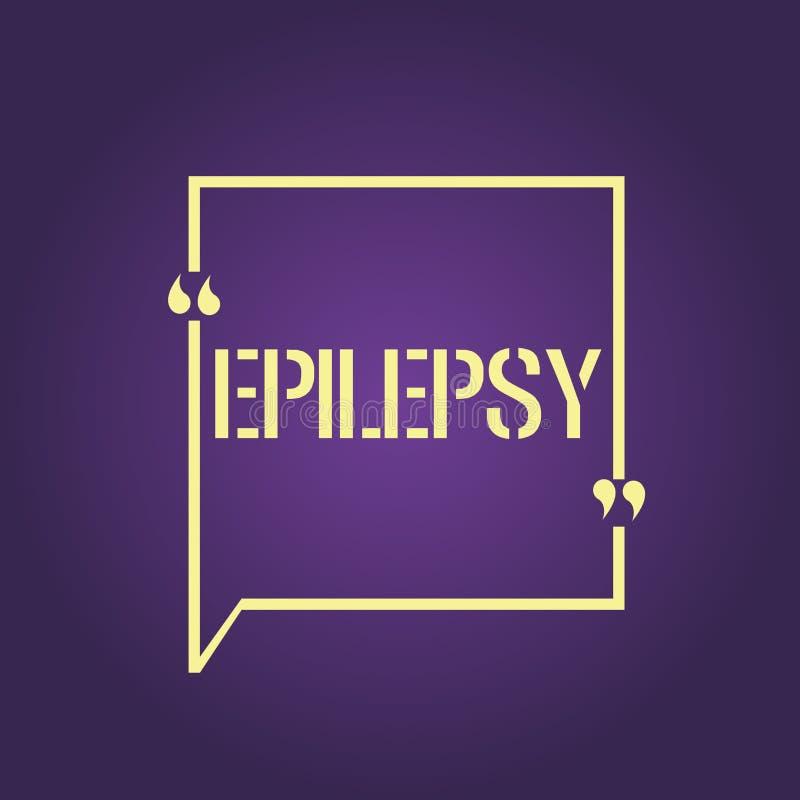 Épilepsie d'apparence de signe des textes Saisies imprévisibles les plus communes de désordre neurologique de photo conceptuelle  illustration stock