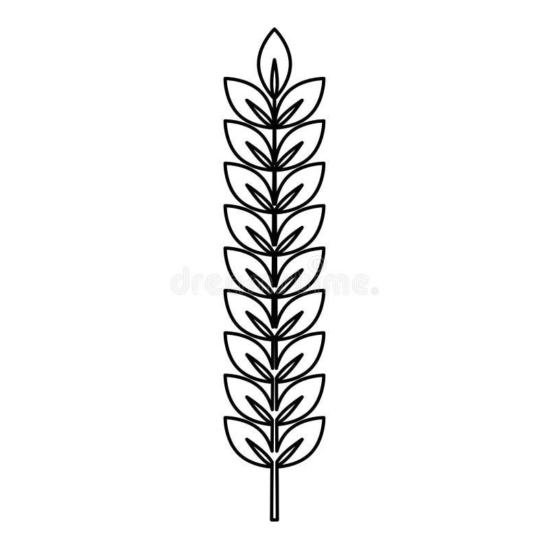Épillet d'image plate de style d'illustration de vecteur de couleur de noir d'ensemble d'icône de branche d'usine de blé illustration libre de droits