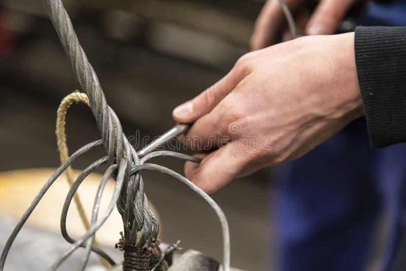 Épissure d'oeil de câble métallique de calage photographie stock