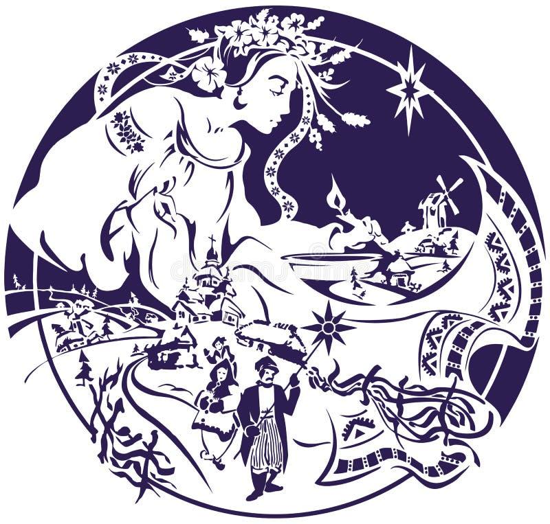 A época de Natal, mulher bonita diz a fortuna com vela Cantores da música de natal contra o fundo pitoresco da vila ilustração do vetor