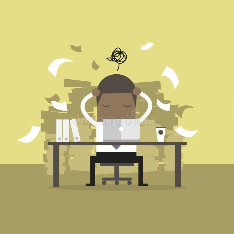 Época ocupada del hombre de negocios africano en el trabajo duro Mucho trabajo Tensión en el trabajo ilustración del vector