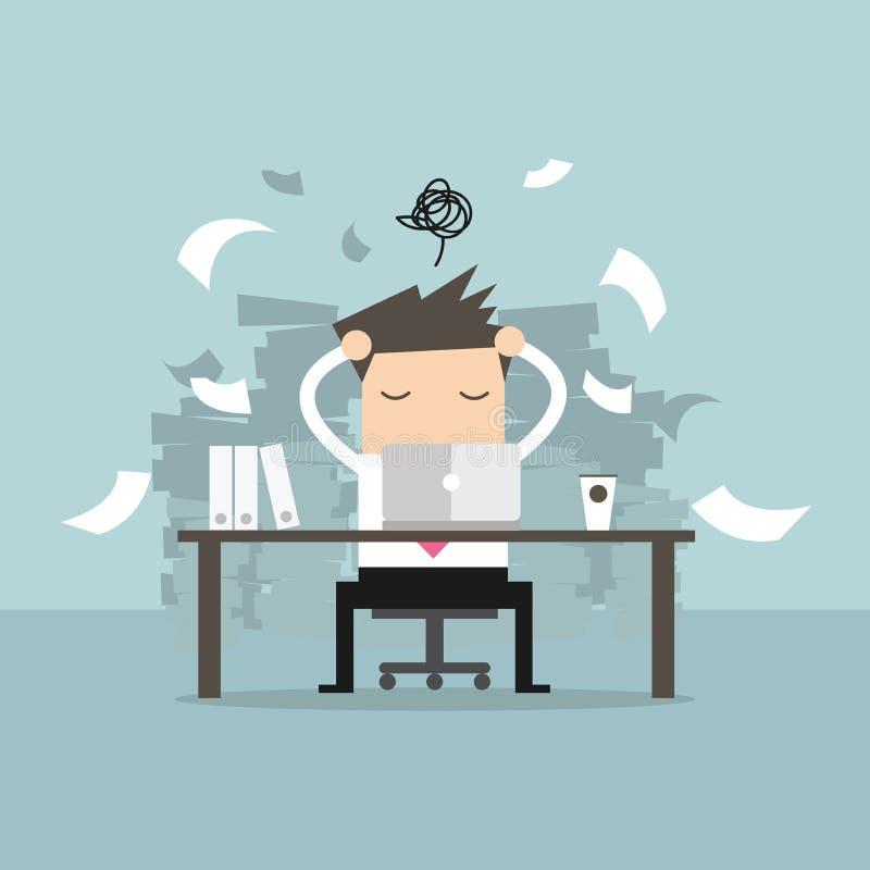 Época ocupada del hombre de negocios en el trabajo duro Mucho trabajo Tensión en el trabajo stock de ilustración