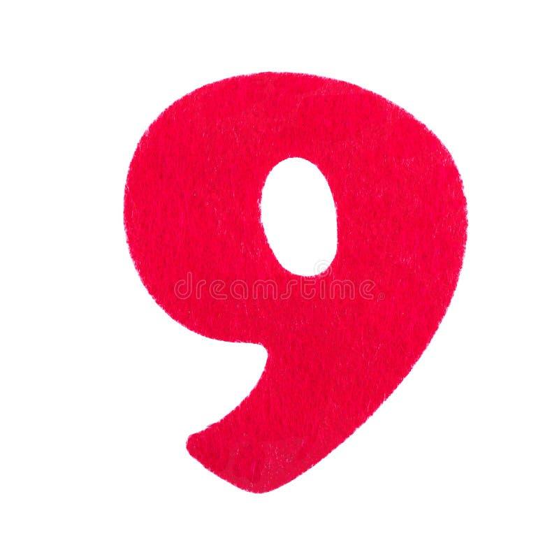 Éponge numéro neuf de police rouge d'isolement sur le fond blanc photographie stock