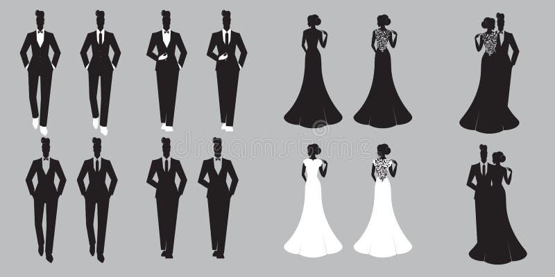 Épousant la carte réglée - juste mariée illustration libre de droits
