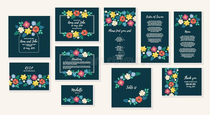 Épousant le cadre d'invitation réglé avec le fond plat de cadre de fleur, les éléments floraux tirés par la main marquent Calibre illustration de vecteur