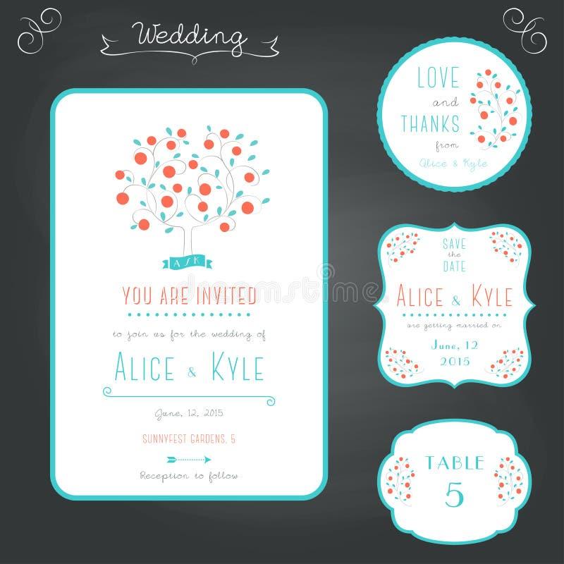 Épousant le style stationnaire de typographie réglé dans la turquoise et le corail illustration de vecteur
