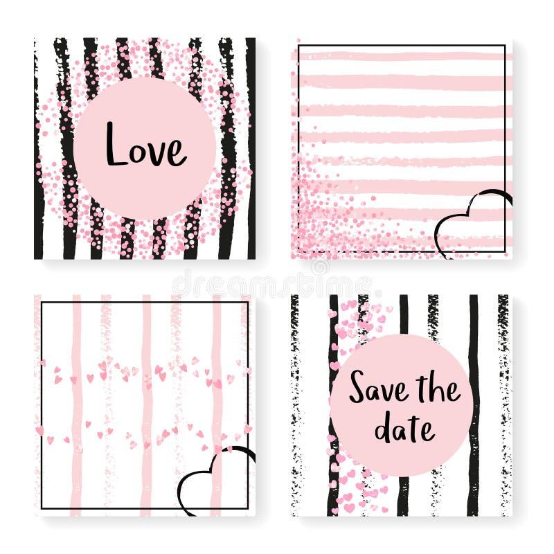 Épouser des confettis de scintillement sur des rayures, ensemble d'invitation illustration libre de droits