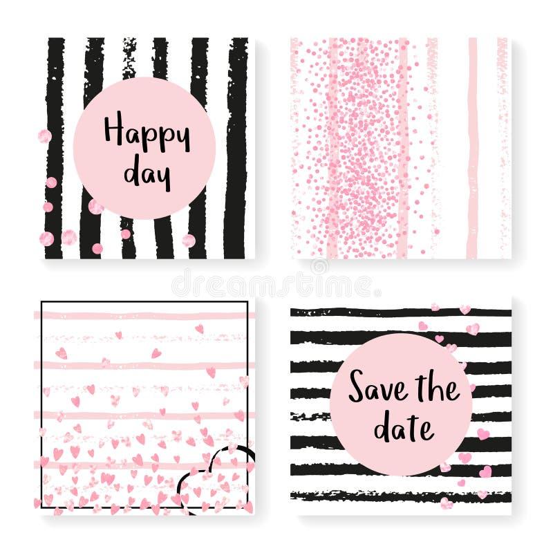 Épouser des confettis de scintillement sur des rayures, ensemble d'invitation illustration de vecteur