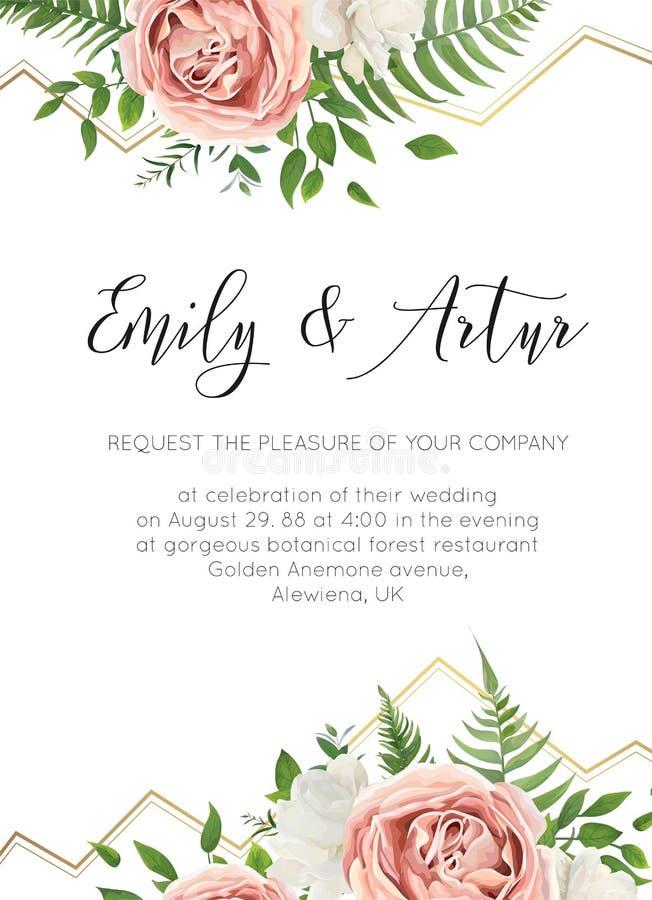 Épouser floral invitent, invtation, sauvent le design de carte de date wat illustration de vecteur