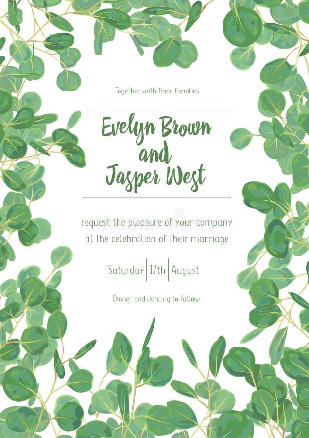 Épouser invitent le desig floral de verdure de vecteur de carte de menu d'invitation illustration stock