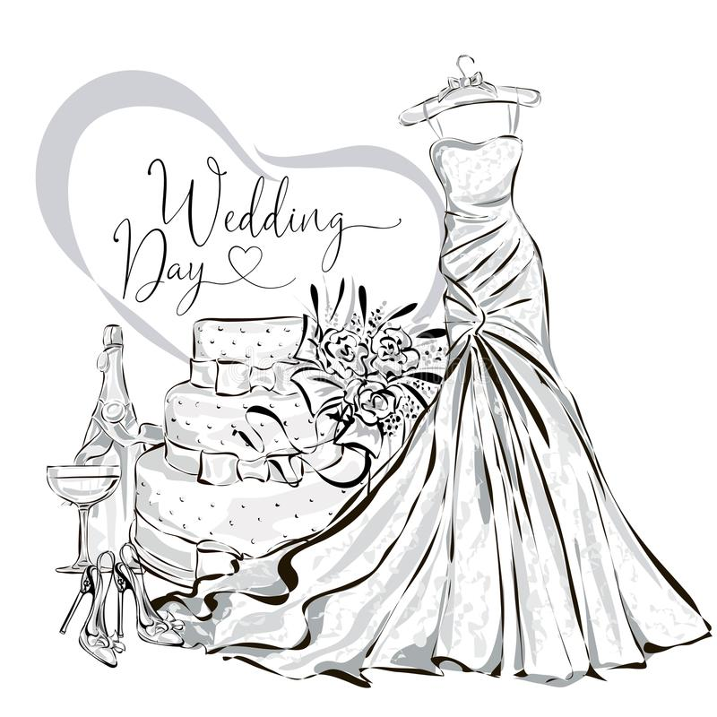 Épouser l'ensemble de clipart (images graphiques) avec la belle robe l'épousant, le bouquet de gâteau de mariage, de champagne et illustration stock