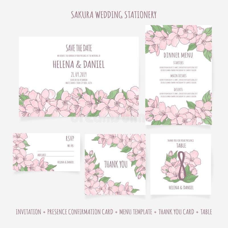 ÉPOUSER l'ensemble floral d'illustration de vecteur de calibre de PAPETERIE illustration stock