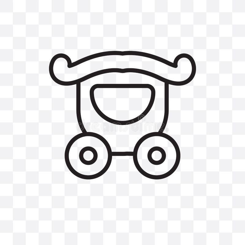 épouser l'icône linéaire de vecteur de chariot d'isolement sur le fond transparent, épousant le concept de transparent de chariot illustration stock