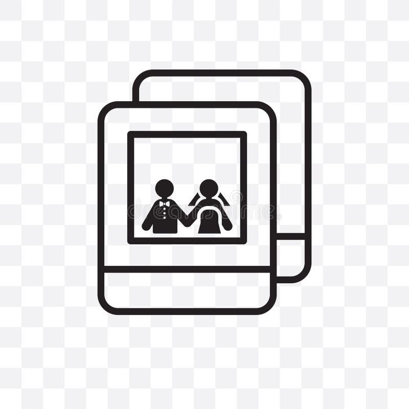 Épouser l'icône linéaire de vecteur de photo d'isolement sur le fond transparent, épousant le concept de transparent de photo peu illustration de vecteur